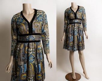 Vintage 1960s Sparkly Mini Dress - 1970s Metallic Lurex Floral Print Autumn Tone Dolly Dress - Brown Velvet Trim - Long Sleeve Small