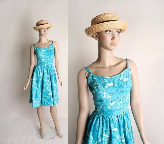 Vintage 1950s Summer Dress - Rhinestone Aquamarine