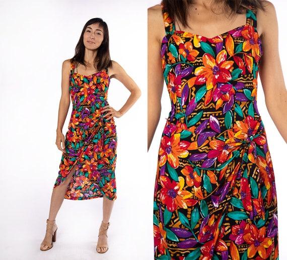 Vintage Hawaiian Wrap Dress - 1980s Floral Print T