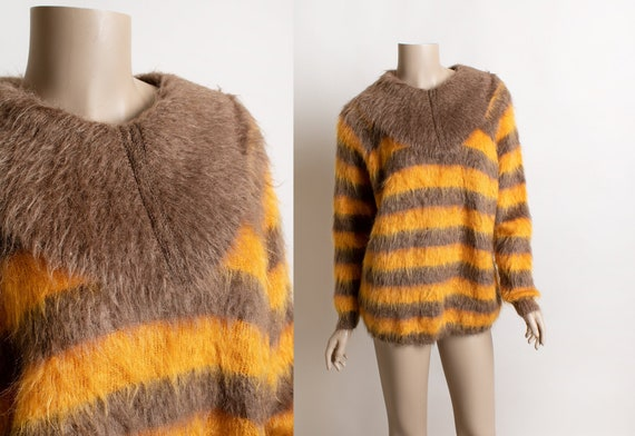 Vintage Striped Mohair Sweater - Autumn Pumpkin Sp