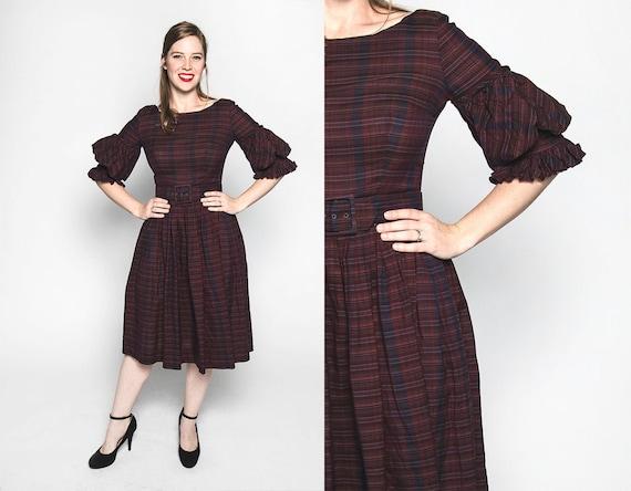 Vintage 1960s Dress - Jewel Tone Purple Plaid Stri