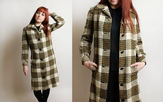 Vintage Plaid Coat - 1960s 1970s Yellow & Black Sh