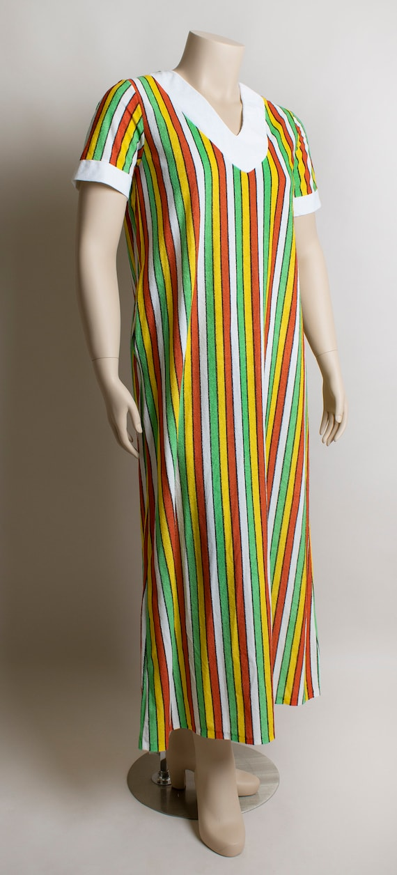 Vintage 1970s Fruit Stripe Towel Dress - Fresh Ci… - image 2