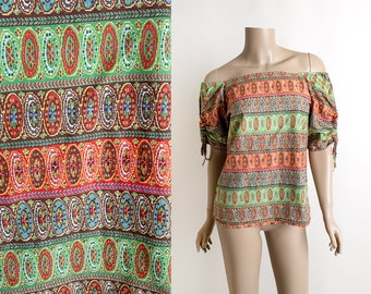 Vintage Off Shoulder Cotton Blouse - Gathered Drawstring Puff Sleeves - Colorful Mexican Style - Floral Striped Print - Medium Large