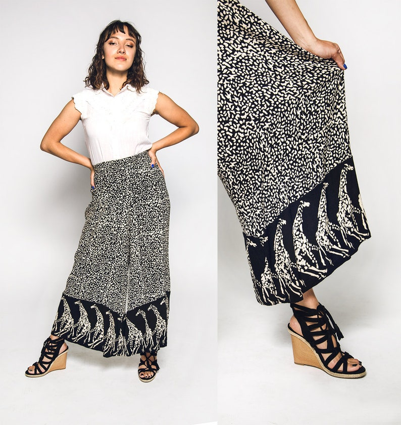 4f6bc9383a115 Vintage Giraffe Print Pants Loose Fit Palazzo Style Crinkle | Etsy