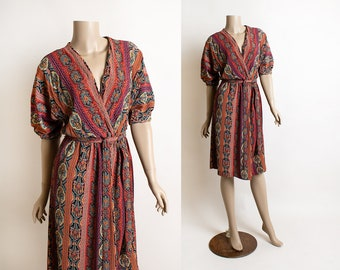 Vintage 1970s Floral Wrap Dress - Autumn Reds Sheer Rayon Striped Loose Fit Slouchy Dress - Virgo II - Small Medium