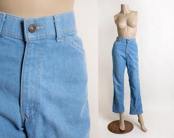 Vintage Orange Tab Levi's For Men Denim Jeans - Light Blue 1970s Straight Cut Leg Swirl Stitch Pockets - W 32 L 30 - Unisex