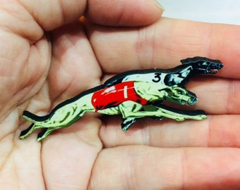 Racing Greyhounds Woodcut Necklace or Brooch Pin