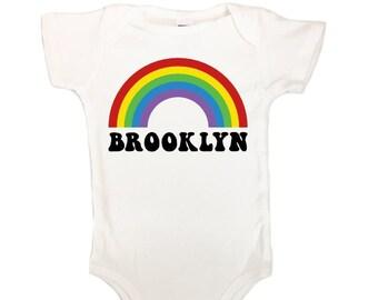 BABY Brooklyn Rainbow - Boys Girls Romper BK Rainbow Colors Sky Pride Happy Fun Brooklyn NYC Red Yellow Green Blue Violet