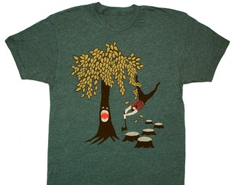 Tree vs Lumberjack - Unisex Mens T-shirt Funny Humor Woodland Axe Plaid Flannel Nature Beard Tee Shirt Eco Forest Green GivingTree Tshirt