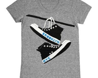 0d09e68a9ad6 Converse - Womens Brooklyn New York NY NYC Shoes Retro Vintage Grey  Triblend Track Chuck Taylor Cute GrayGirls T-shirt Tee Shirt Tshirt