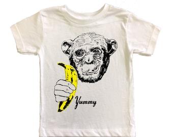 KIDS Banana Chimp T-Shirt - Unisex Boy Girl Tee Shirt Pop Art Yummy Andy Warhol Velvet Underground Fruit White Yellow Ape Monkey Animal
