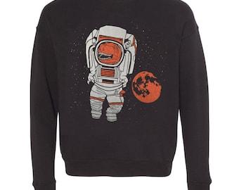T-Rex Astronaut - Unisex XXLARGE Mens Womens Sweatshirt Tyrannosaurus Rex Dinosaur Funny Sweater Longsleeve Black Fleece Space Astro SciFi
