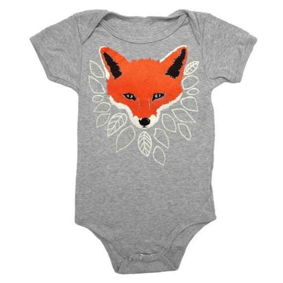 9659eb6c8 BABY Fox One-Piece Bodysuit Romper Jumper Adorable Woodland | Etsy