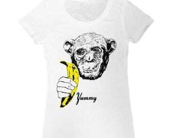 Banana Chimp T-Shirt - Womens Girls Tee Shirt Pop Art Yummy Andy Warhol Velvet Underground Fruit Black White Yellow Ape Monkey Animal
