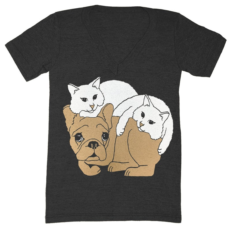 1bcfc75daf8f Dog & Cats V-neck T-Shirt Tee Shirt Cute Frenchie Kitten   Etsy