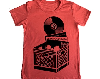 KIDS SIZE 2 Brooklyn Record Crate T-Shirt - Music Record Crate Vinyl NYC Oldschool Rap Hip Hop Red Cotton Tee Shirt Nineties Boys TShirt