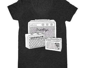 Brooklyn Amps T-Shirt - Women's Tee Shirt Music Audio Vintage Amplifiers Speakers Black Brooklyn NYC BK New York City Indie Rock Group Band