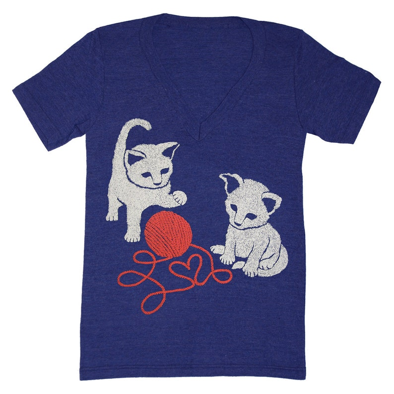 32ef21c425b4 Kittens V-neck T-shirt Cute Fun Adorable Pet Friends Cats   Etsy