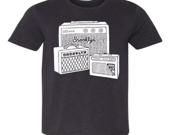 Brooklyn Amps T-Shirt - Unisex Mens Tee Shirt Music Concert Musician Speakers Amplifier Brooklyn BK New York City Indie Rock Band Group
