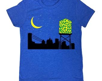 KIDS Water Tower Tee - Night Cityscape Moon Stars Brooklyn T-shirt Blue Black Yellow Green BK Moonlight New York City Glow Stained Glass