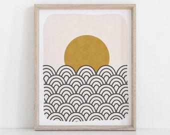Waves & Sun Art Print - Black Ochre   Waves Art   Sun Art   Wall Art   8x10 Print   11x14 Print   Minimalist Art   Geometric Art