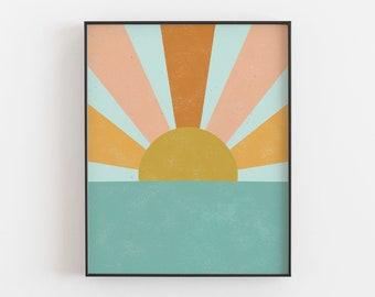 Sun Beam Ocean Wall Art Print   Minimalist Art   Modern Art   Sun Art   Ocean Art   Beach Art   Turquoise Art   Retro Art   5x7 8x10 11x14