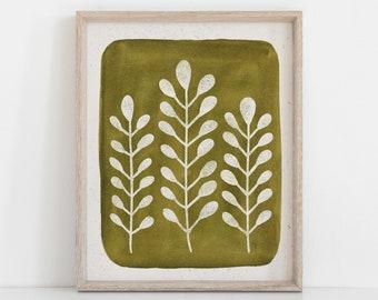 Mod Ferns Wall Art Print - Green   Nature Art   Watercolor Art   Green Art   Leaves Art   Block Print   Botanical   5x7 8x10 11x14
