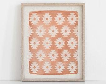 Southwestern Pattern Wall Art Print - Pink   Southwestern Art   Watercolor Art   Block Print   Geometric Art   Pink Art   5x7 8x10 11x14