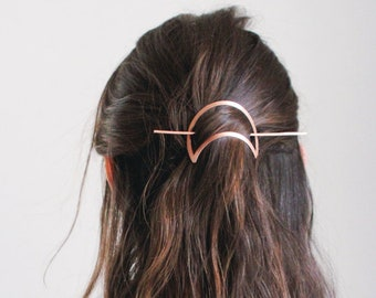 Crescent Moon Hair Pin | Brass Hair Clip | Copper Hair Slide | Hair Barrette | Hair Accessories | Copper Hair Clip | Silver Hair Slide