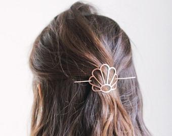 Art Deco Shell Hair Pin | Brass Hair Clip | Copper Hair Slide | Hair Barrette | Hair Accessories | Copper Hair Clip | Silver Hair Slide