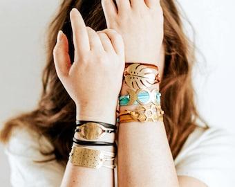 Brass Suede Leather Wrap Bracelet | Monstera Leaf, Honeycomb, Moon, Eye, Polkadot Bar | Celestial Jewelry | Colorful Leather Bracelet