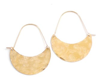 Crescent Hoop Earrings | Crescent Moon Earrings | Crescent Earrings | Moon Earrings | Brass Earrings | Gold Hoops | Sterling Silver Hoops