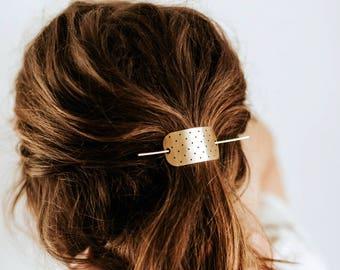 Polkadot Bar Hair Pin | Brass Hair Clip | Brass Hair Slide | Hair Barrette | Hair Accessories | Silver Hair Clip