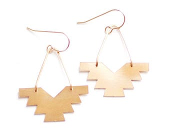 Geometric Phoenix Earrings | Brass Earrings | 14k Gold Filled Earrings | Sterling Silver Earrings | Geometric Earrings | Southwestern