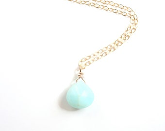 Mint Peruvian Opal Briolette Necklace | Gold Filled | Sterling Silver