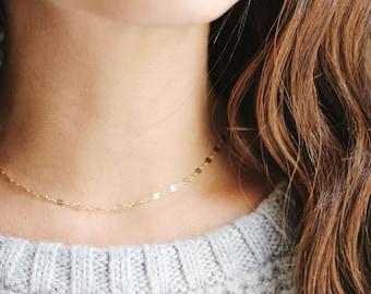 Dapped Chain Choker Necklace | 14k Gold Filled | Sterling Silver | Layer Necklace | Fine Gold Choker | Layered Choker