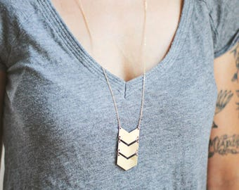 Long Triple Chevron Necklace | Triple Arrow Necklace | Gold Chevron Necklace | Silver Chevron | Chevron Pendant | Geometric Necklace