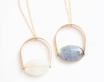 Arch Moonstone Pendant Necklace | Long Necklace | Brass Moonstone Necklace | Gold Moonstone | Silver Moonstone | Moon Stone Necklace