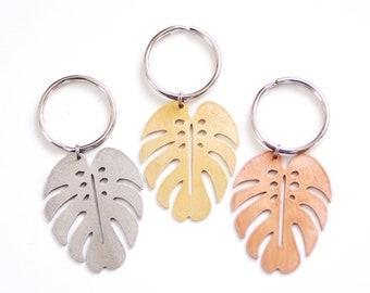 Monstera Keychain | Monstera Leaf Keychain | Tropical Monstera Keyring | Metal Keychain | Brass Keychain | Copper Keychain | Steel Keychain