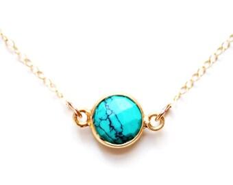 Gold Vermeil Tiny Turquoise Choker Necklace | 14k Gold Fill Chain | Turquoise Necklace | Turquoise Jewelry | Layered Choker