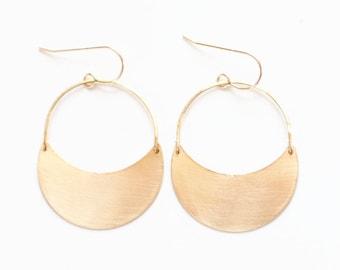 Crescent Dangle Earrings | Crescent Moon Earrings | Brass Earrings | Crescent Hoop Earrings |  Crescent Moon | Gold Fill Crescent Earrings