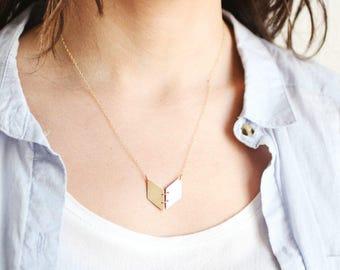 Minimalist Chevron Book Necklace | Brass Necklace | 14k Gold Filled Necklace | Sterling Silver Necklace | Chevron Necklace