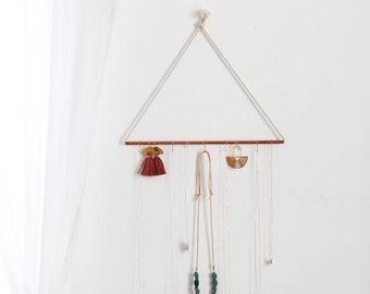 Minimalist Copper Rope Jewelry Organizer | Jewelry Storage | Jewelry Organizer Hanging | Supplies Organizer | Wall Hanging | Jewelry Display