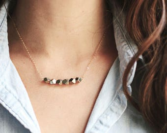 Faceted Row Stone Pyrite Necklace   14k Gold Filled   Sterling Silver