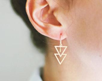 Minimalist Double Triangle Arrow Earrings | Brass Earrings | 14k Gold Fill | Sterling Silver Earrings | Triangle Earrings | Minimal Jewelry