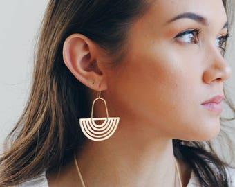 Arch Half Moon Rainbow Earrings | Statement Earrings | Rainbow Earrings | Half Moon Earrings | Gold Earrings | Brass Earrings | Geometric