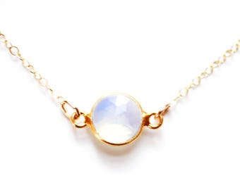 Gold Vermeil Tiny Bezel Moonstone Choker Necklace | 14k Gold Fill Necklace | Tiny Moonstone Necklace | Layered Choker