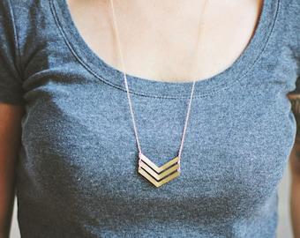Geometric Triple Arrow Necklace | Brass | 14k Gold Filled | Sterling Silver