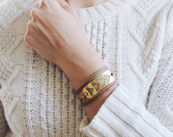 Flying Geese Wrap Bracelet | Cord Bracelet | Leather Bracelet | Triangle Bracelet | Brass Bracelet | Boho Bracelet | Boho Jewelry | Gold